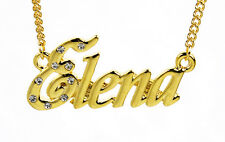 18K Gold Plated Necklace With Name ELENA - Bridal Name Chain Name Plate Jewelry