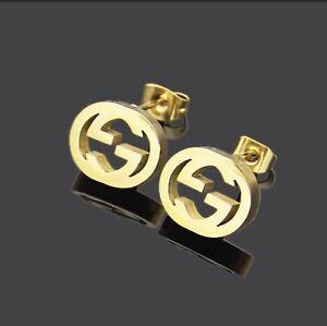 GUCCI Gold GG Interlocking Studs Earrings