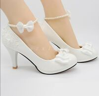 Womens Lace Beads Detachable Wedding Party White High Heel Slip On Shoes Size