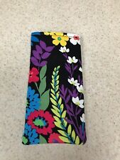 Sunglass / Eyeglass Soft Fabric Case- Colorful Summer Floral on Black Background