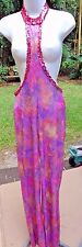 Vibrant Multicolored Stretchy Unitard Costume w/Pink Sequin Collar/Frontis S/M