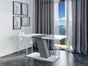 Esstisch KROSS 120-160x80 Küchentisch Weiß Anthrazit Betonoptik Ausziehbar NEU