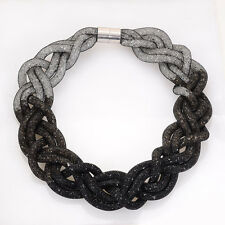 Newest Crystal Statement Necklace With Braided Mesh Chain Resin Crystal BLACK