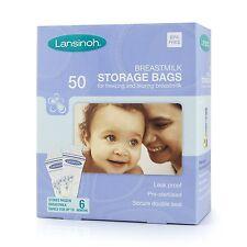 Lansinoh Baby Breast Milk Storage Bags 50 Pieces Double Pre Sterilized Zipper