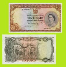 Rhodesia and Nyasaland 10 Pounds banknote Queen Elizabeth 1960  UNC-Reproduction