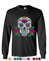 Sugar Skull with Roses Day of the Dead Long Sleeve T-Shirt Calavera