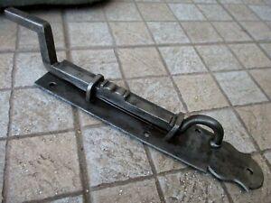 Antique Huge Strong Iron Wrought Door Latch Slide Bolt Lock Shutter Rare Dog Leg