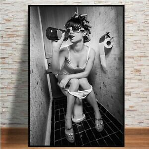 Modern Sexy Women on The Toilet Smoking Picture Bar Wall Art Poster Canvas Print