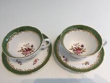 Pair DENBY ROCKINGHAM China Cabinet Tea Cups & Saucers Wide Rim Rose Vintage