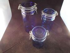 Vintage 3 Piece Cobalt Blue Glass  Canister Set Wire Hinge Lids 12 Sided