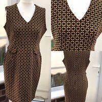 TU Size 14 Black Orange Wiggle Dress Stretchy Gee