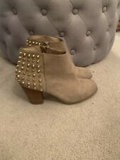 Zara Beige Suede Gold Stud Studded Spike Ankle Shoe Boots Heels Stack Uk 4 / 37