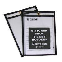 "C-line Stitched Plastic Shop Ticket Holder - 5"" X 8"" - Clear - 25 / Box"