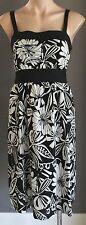 Hawaiian Style PINEAPPLE Black & White Hibiscus Print Empire Waist Dress Size 14