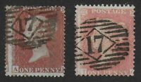 SG17 & 39. 1d.Red-Brown & 1d.Pale Rose. Different London '17' Cancels. Ref:0.95