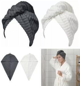 2 x IKEA Cotton Hair Towel Quick Dry Hat Cap Twist Head TRÄTTEN dark grey/white
