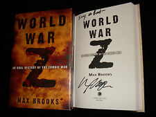 Max Brooks signed World War Z 1st printing hardcover book with Tagline