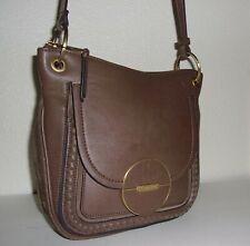 846e2859b Calvin Klein Dark Taupe /Brown Leather & Suede Saddle Shoulder Bag Purse  Handbag