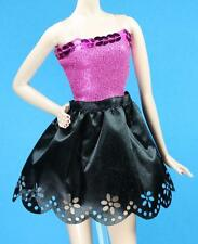 Sparkle Girlz Dark Pink and Faux Black Leather Dress fits Barbie Model Muse Doll