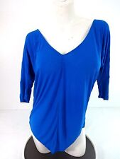 NEW WITH DEFECT OLIVIA MOON TEAL RIBBED V-NECK TOP SIZE M