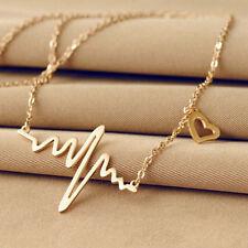 Lady Electrocardiogram Pendant Heartbeat Heart Rhythm ECG EKG Simple Necklace #w