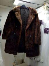Abrigo chaqueta de piel verdadera Castor Visón Ropa Vintage Cuello Doble Abotonadura Marrón