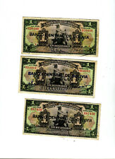 3 Banco Central de Bolivia 1 Bolivanos Banknotes Different Signatures