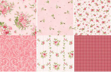 6  Shabby Pink Heather & Roses On The Vine Quilt Fabric Fat Quarters ~ Maywood