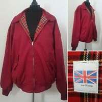 Mens HARRINGTON Style Jacket Sz XXL Red Tartan Zip Mod Ska Punk Retro Festival