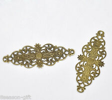 50 Bronze Tone Filigree Flower Wrap Connector 6.1x2.4cm