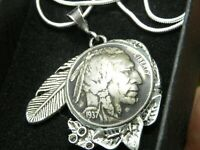 Necklace feather Pendant authentic Buffalo Indian Nickel coin nice gift her him