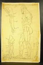 Disegno matita studio d'une scultura Hercules Eracle Studio in matita c1930