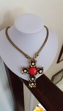 Chunky Gold Cross Gothic Necklace with Crystals and Red Bead