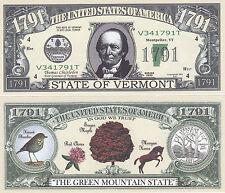 Two Vermont Vt Patriotic State Quarter Novelty Bills # 117