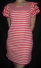 T SHIRT DRESS - RED/ WHITE STRIPE - LADIES DRESS - MINI DRESS -RUFFLE SLEAVE TOP