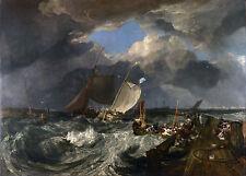 """1803 Joseph M.W Turner, Calais Pier, Boats, Ocean, ship,Sailing, 24""""x18"""" CANVAS"""