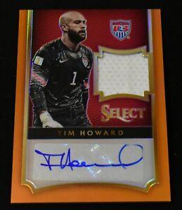 2015-16 Panini Select Soccer Orange Prizm Jersey Autograph Tim Howard 18/25