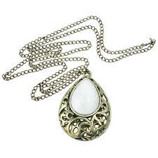 Hollow Water Drop Pendant Big Gem Stone Long Necklace,White BT