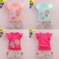 2 PCS Toddler Kids Baby Girls Outfits Lolly T-shirt Tops Short Pants Clothes Set