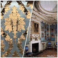 SWATCH Designer Italian Burnout Damask Chenille Blue Bronze Fabric Upholstery