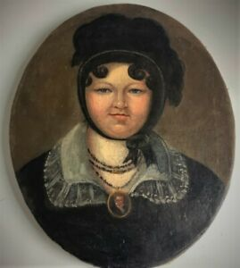Antique French Portrait of a Lady. Oil on Canvas. Very good Condition.