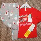 New Girls Carters 2 pc Pajama Set PJ; Sleep; Christmas; Snow - Size 12, 24 mo