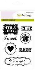 Craft Emotions Cling Clear Stamps A6 VINTAGE BABY ENGLISH TEXT LABEL 1246