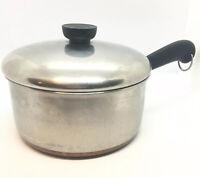 VTG Revere Ware Copper Bottom 2 Quart Sauce Pan with Lid Clinton IL - Fast Ship
