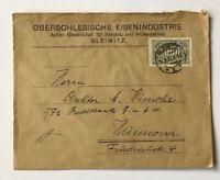 Dt. Reich Infla - Oberschlesische Eisenindustrie Gleiwitz n. Hannover 1923