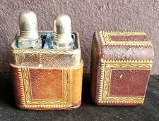 Antique Gilt Morrocan Leather Cased, 2  Cut Glass Perfume Bottles for Travelling