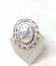 Vintage 1950's  Blue Flower Porcelain Brooch Pin