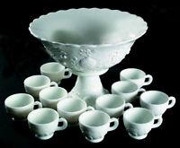 Vintage Modern Milk Glass Cherry Pineapple Grape Fruit Punch Bowl Party Cups Set