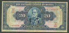 1931 Currency Paper Money Republic Of Brazil 20 Vinte Milreis Pick 48A Twenty