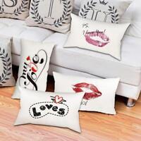 30*50cm Soft Cotton Linen Throw Waist Pillow Case Cushion Cover Home Sofa Decor